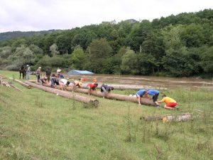 Slow rafting on river in Romania